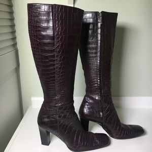 Calvin Klein Leather Snakeskin Square Toe Boots